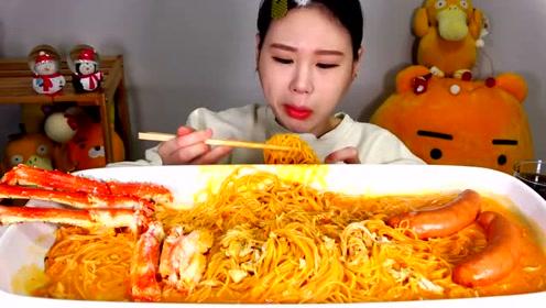 动手吃美食:吃美味意大利面 大螃蟹