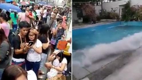 菲律宾棉兰老岛发生6.8级地震 民众为避难挤满长街