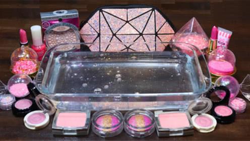 DIY史莱姆教程,粉底+口红指甲油+亮彩粉,超治愈解压