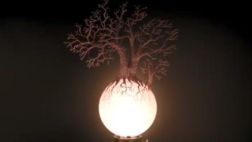 牛人用3D打印笔画棵树,放灯上后,秒变艺术品