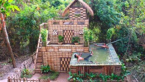 两兄弟回农村后,徒手建造豪华别墅,完工那一刻太震撼了!