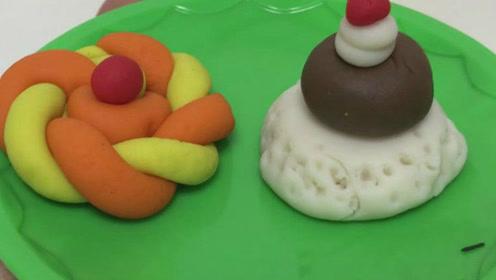 玩具视频 橡皮泥手工制作芝士蛋糕 夹心卷 亲子游戏