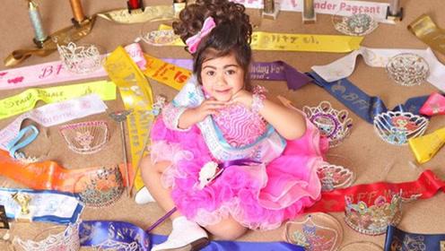 英国4岁女孩成选美达人 小小年纪美成公主