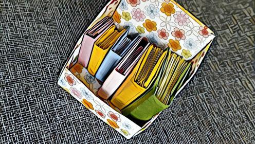 迷你书架diy折纸教程,放置各种小物都不错哦!图片