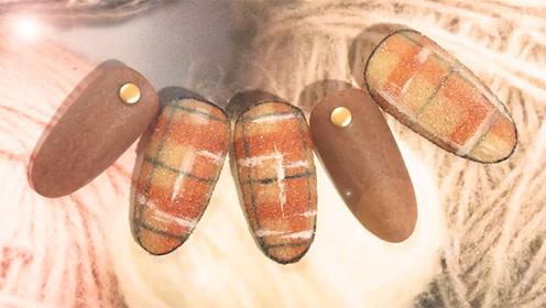 来款格纹皮草美甲 冬日温暖从指尖开始