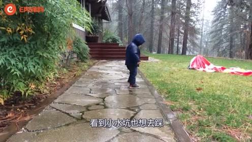 萌娃喜欢下雨天出去踩小水坑,接着连续摔倒4次,可把爸妈逗笑了