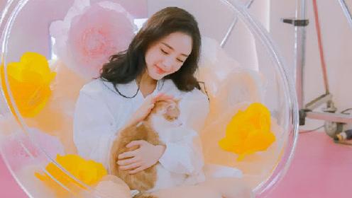 杨幂赤脚诠释少女与猫 目光有爱粉红少女心十足