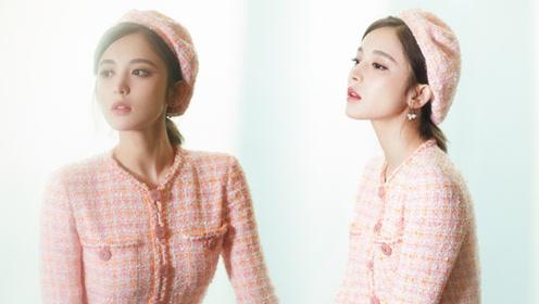 娜扎穿粉色洋装复古又时尚 精致的如同漫画中走出来的公主