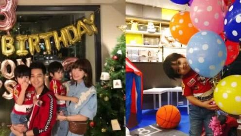 林志颖夫妇为双胞胎儿子庆3岁生日,一家五口切蛋糕幸福温馨
