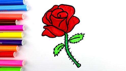 简单几笔画一支美丽的玫瑰花,儿童基础简笔画漂亮的花卉!