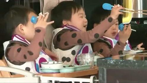 宋家三胞胎学会使用筷子,民国还高兴的炫耀,三小只太可爱了