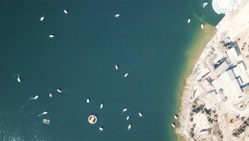 航拍丨舟行碧波上,人在画中游!北京雁栖湖公园春景引游人如织
