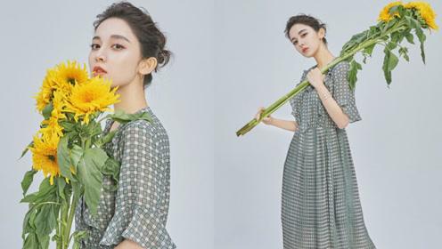 娜扎春日写真穿格子裙捧花而立 诠释田园风温馨静谧