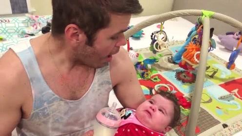 宝宝正在吃奶,爸爸突然开启魔音模式,小娃立马开哭,奶都不喝了