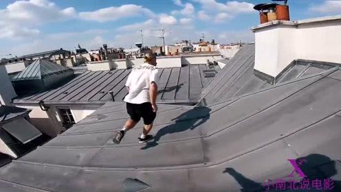 国外跑酷,房顶上四处奔跑,看着这么高的楼,腿都发软了!