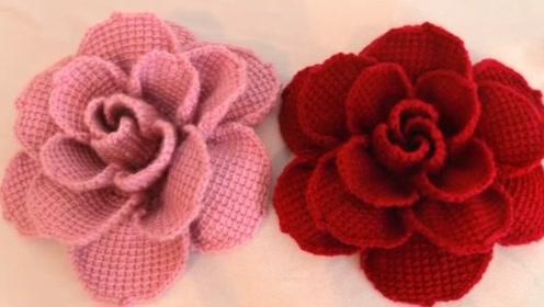 钩针编织栩栩如生的玫瑰花,做发夹,发圈太美啦
