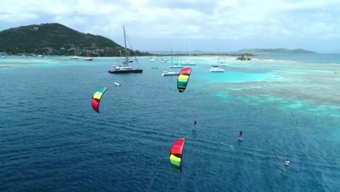 各种花式风筝冲浪,景色绝对让你忘不了太美了