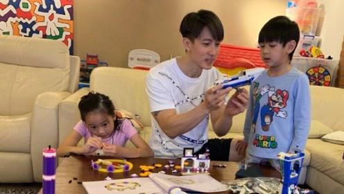 吴尊与一双儿女玩耍画面温馨 感慨陪伴是最棒的事