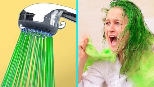 爆笑情侣恶作剧,周末假期的有趣创意,头发洗着洗着变绿了?