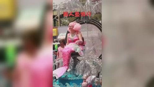"""""""美人鱼""""大游行 人们扮作各种各样的美人鱼走上街头"""