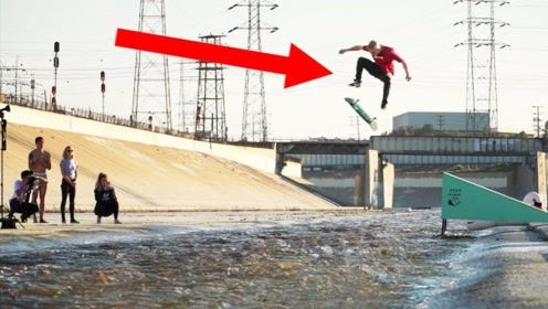 好刺激!小伙想踩着滑板通过7米宽的河流,结果摔的找不到北