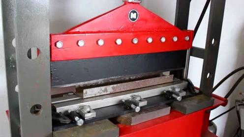 男子打造一台简易液压机,功能也太强大了,机械天才啊