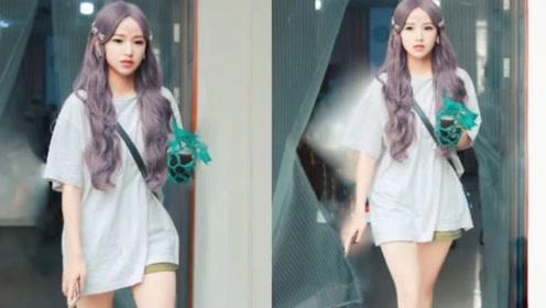 程潇紫色长卷发的路透照曝光 白皙精致如洋娃娃