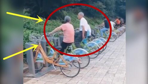 公园里健身器材不够用,大爷大妈终于对共享单车下手了!