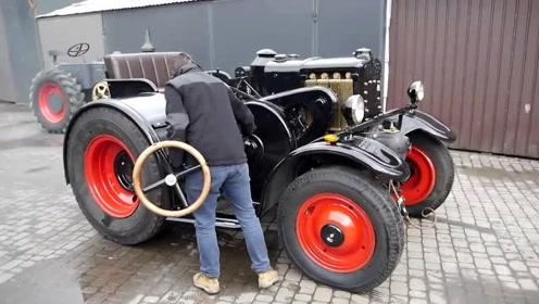 100年前的汽车,原来是用方向盘启动的,就是抖的厉害