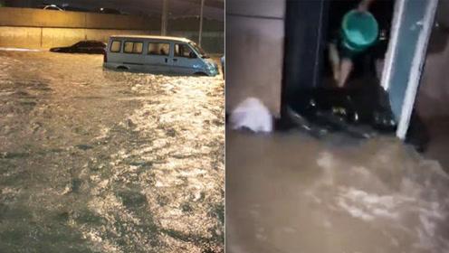 郑州遭遇暴雨道路如黄河,开车如坐船,居民提着桶站屋里往外倒水