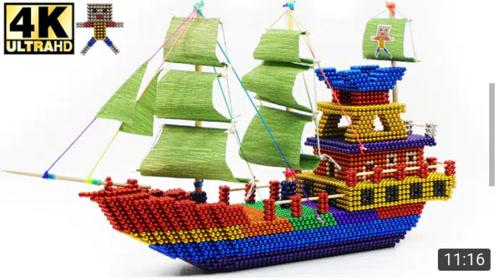 DlY彩色磁铁建造帆船,仿真程度真不简单