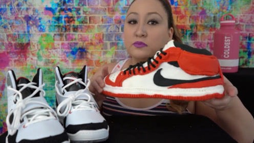 美女挑战吃AJ鞋,看完视频后,才知真相不简单