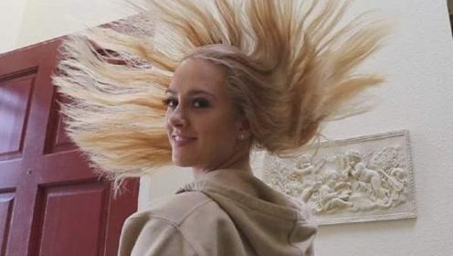 国外美女挑战200层发胶,下一秒起身的时候,画面太惊艳
