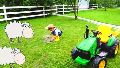 萌娃去农场给动物们送食物,真是有趣呢!小家伙真是萌萌哒!