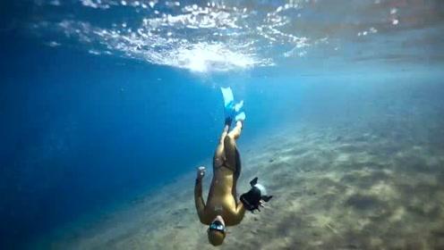 自由潜水:寂静的世界,自由的潜水。大海里会有海绵宝宝吗
