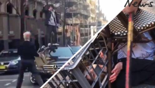 悉尼街头男子持刀伤人惹众怒 群众用椅子、牛奶箱将其制服