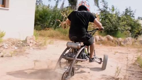 老外自己制造三轮赛车,跑起来太拉风了,外形简陋却非常快!