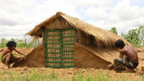 荒野求生篇:牛人大叔户外徒手建房,纯手工打造豪宅