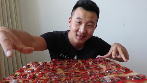 """小亮买来2包辣条""""大刀肉"""",挑战吃72个大刀肉,他能完成吗?"""