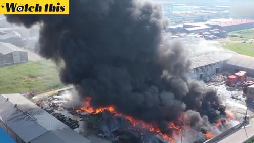 韩国垃圾回收工厂起大火 有毒黑烟笼罩天空