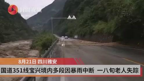 国道351线宝兴境内多段因暴雨中断 一名八旬老人失踪