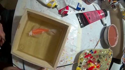 高超的3D树脂金鱼,一层层往上浇筑,你相信是假的吗