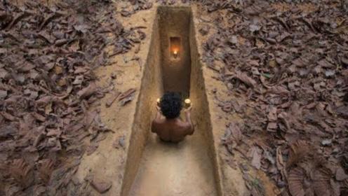 城里房子买不起,农村小伙在地下打造秘密豪宅,进门先要点蜡烛!