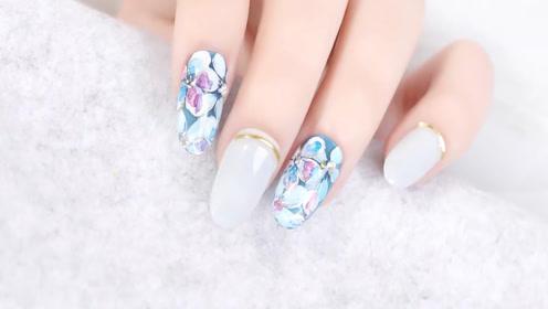 果冻层叠蓝色水彩花 复古风美甲喜欢吗