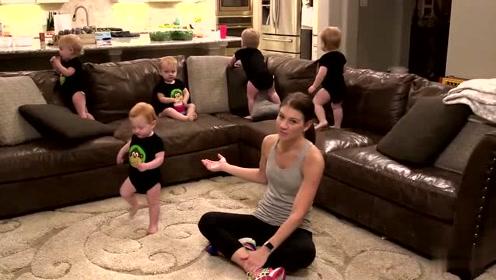 5胞胎的女超人妈妈每天的带娃日常,看着又欢乐又轻松