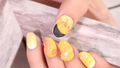 坚果冰沙糯米团美甲 指尖上的美食