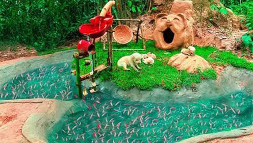 小奶狗野外遭遗弃,被好心小伙收留,还打造超豪华狗狗乐园!