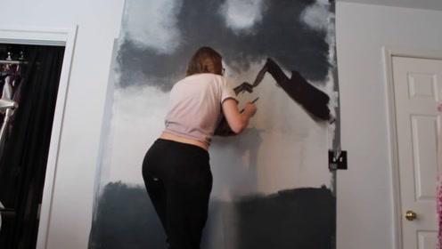 美女按照教程,在卧室墙上绘制美丽风景,成品太让人惊艳!