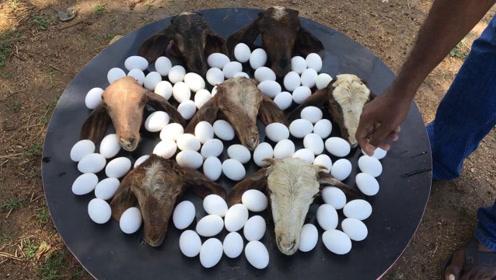 印度人用7个羊头煮70个鸡蛋,看了制作过程,网友:吃不下去