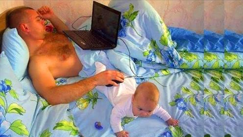 爸爸在家带娃,宝宝屁股当鼠标垫,妈妈回来看到太心酸,眼眶湿润